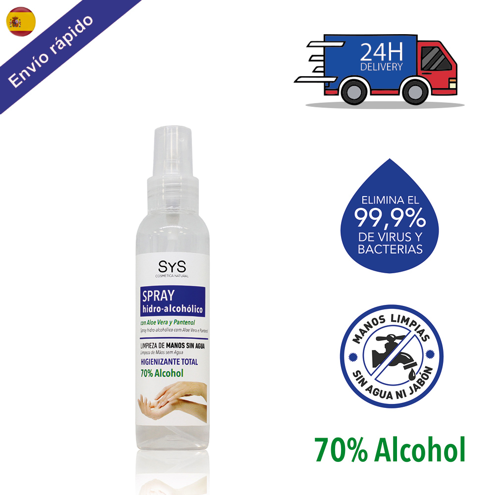 SPRAY HIDROALCOHOLICO Hands And Surfaces/100 ML 70% ALCOHOL Disinfectant-GEL Cleaning Hands-on ALOE VERA Hygiene