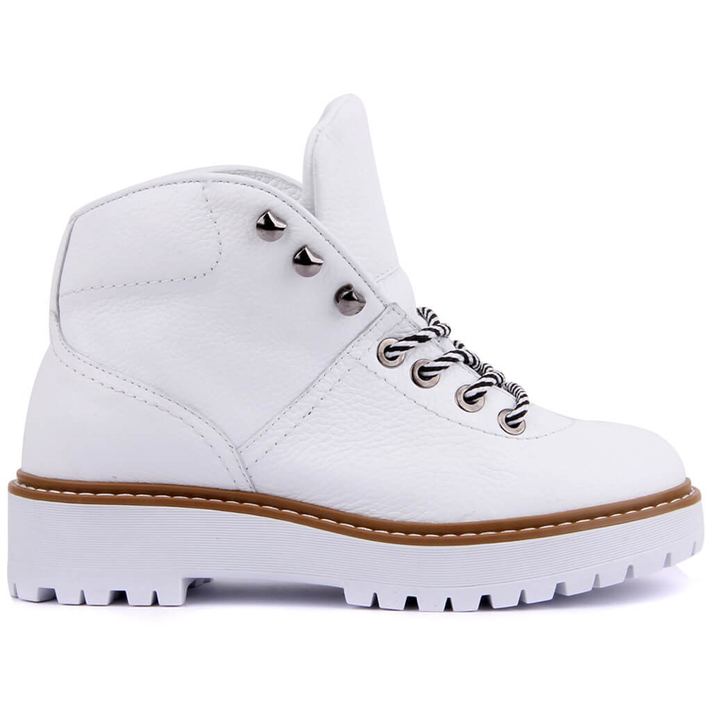 Sail-Lakers White Leather Lace-Up Women Boots Casual Shoes