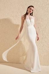 Вечернее платье с жемчугом для выпускного вечера TPRSS20AE0086
