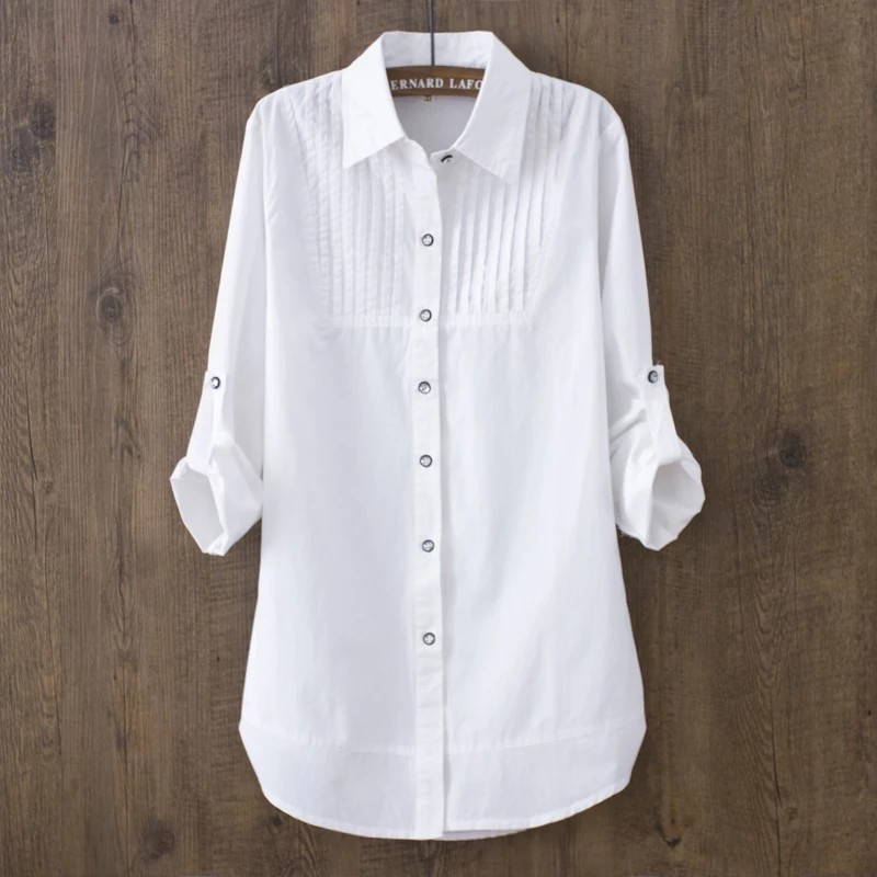 100% Cotton Spring Summer Women White Blouse Long Sleeved Slim Cotton Casual Work White Shirts Office Lady Button Tops photo review