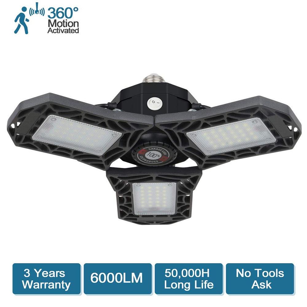 LED Garage Lights, Motion Activated Garage Lighting 6000 Lm Deformable LED Garage Ceiling Lights 60W Led Shop Lights For Garage