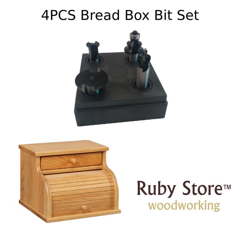 4PCS Bread Box Router Bit SET, Tambour Set, 1/2