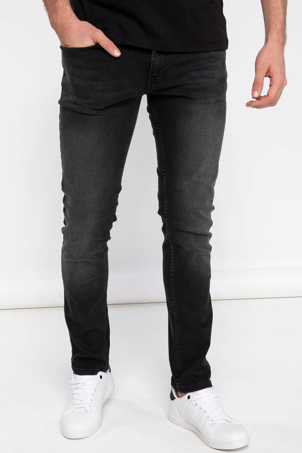 DeFacto Man Spring Black Denim Jeans Men Casual Skinny Denim Pants Male Mid-waist Denim Trousers-K4108AZ19SP