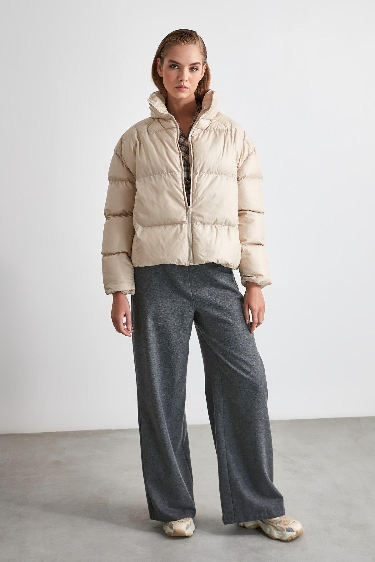 Повседневное женское пальто 2020 осеннее модное пальто из полиэстера с длинным рукавом и вертикальным воротником|Пуховики| | АлиЭкспресс