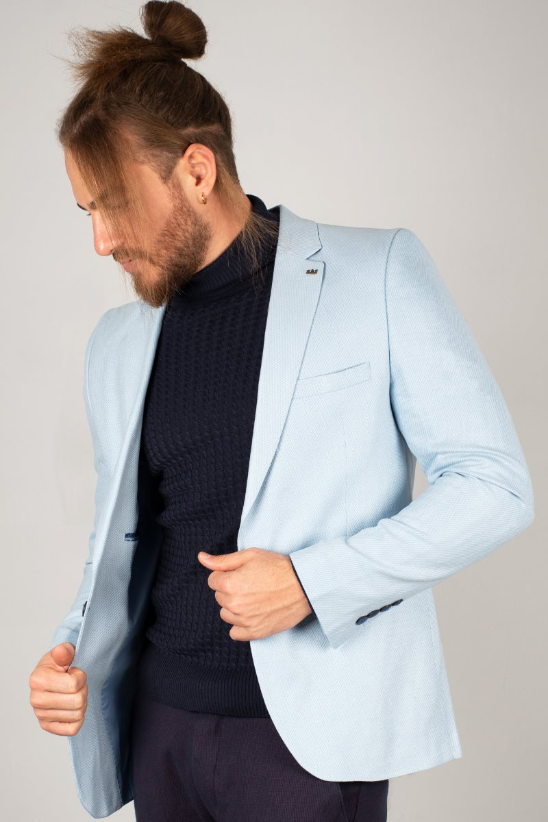 DeepSEA Bebe Blue Men 'S Luxury Blazer Coat Suit Jacket Tight-Fitting Mould Patterned Fabric Four Seasons Daily Groom Wedding Business 2002123 1
