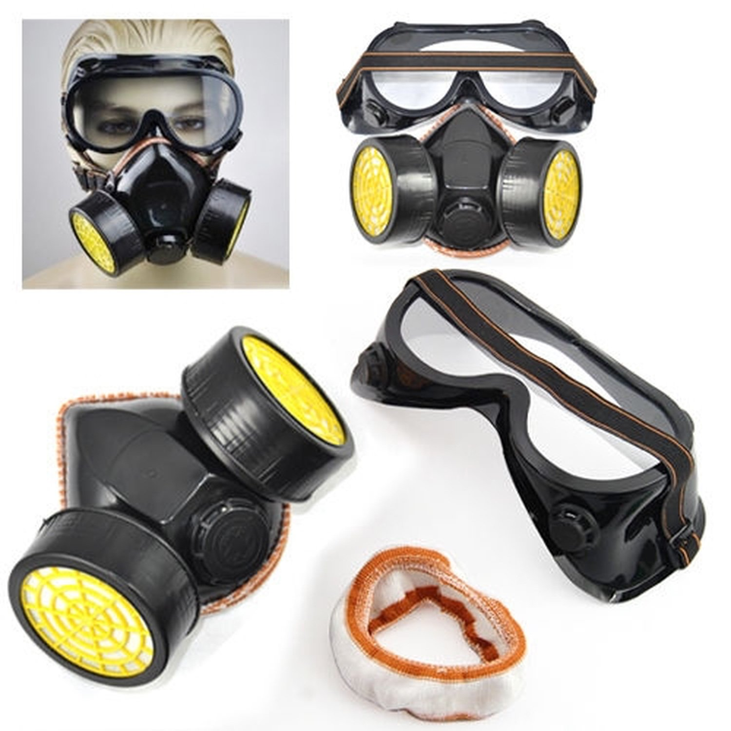 Mask Breathable Double Cartridge With Goggles Kit Paint Anti Gas