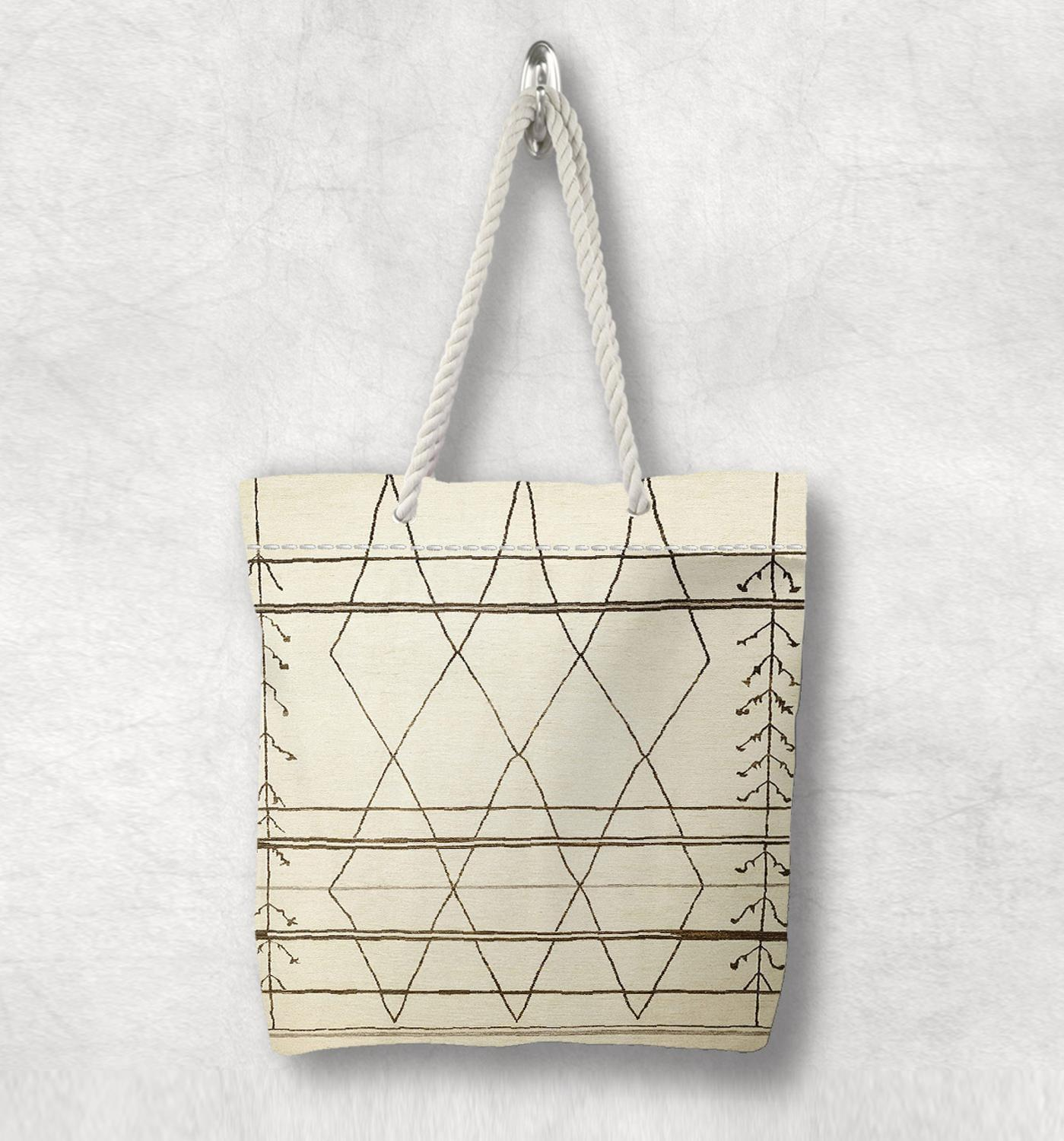 Else Beige Brown Retro Anatolia Antique Kilim Design White Rope Handle Canvas Bag Cotton Canvas Zippered Tote Bag Shoulder Bag