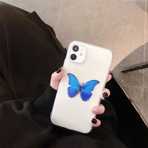 Image 2 - Cute Blue Butterflies Clear Phone Case for iPhone  11 Pro Max Xs XR  X 6 6s7 8 Plus Case soft tpu back cover case