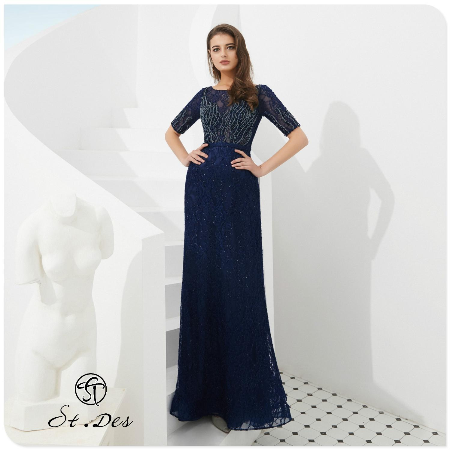 NEW 2020 St.Des Russian Celebrity Round Neck Blue Diamond Sequins Mid-sleeve Designer Floor Length Evening Dress Party Dress