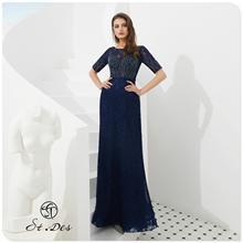 NEW 2020 St.Des Russian Celebrity Round Neck Blue Diamond Sequins Mid-sleeve Designer Floor Length Evening Dress Party