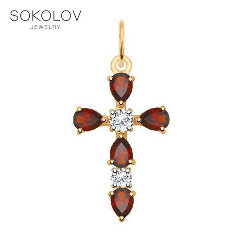 Pendant SOKOLOV Gold With Garnet And Cubic Zirkonia Fashion Jewelry 585 Women's Male, Pendants For Neck Women