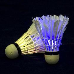 ¡Un volante! FLOWS SET, 2 uds, en tubo, con luz LED, pluma, plástico de espuma, BADBINTON, BAMINTON, Juegos de Verano, ROCKETS