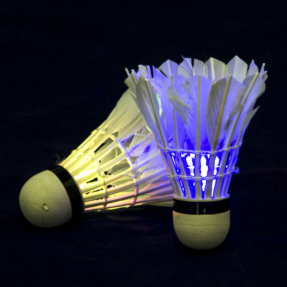 A Shuttlecock. FLOWS SET, 2 PCS, IN TUBE, WITH LED LIGHT, FEATHER, FOAM PLASTIC, BADBINTON, BAMINTON, SUMMER GAMES, ROCKETS