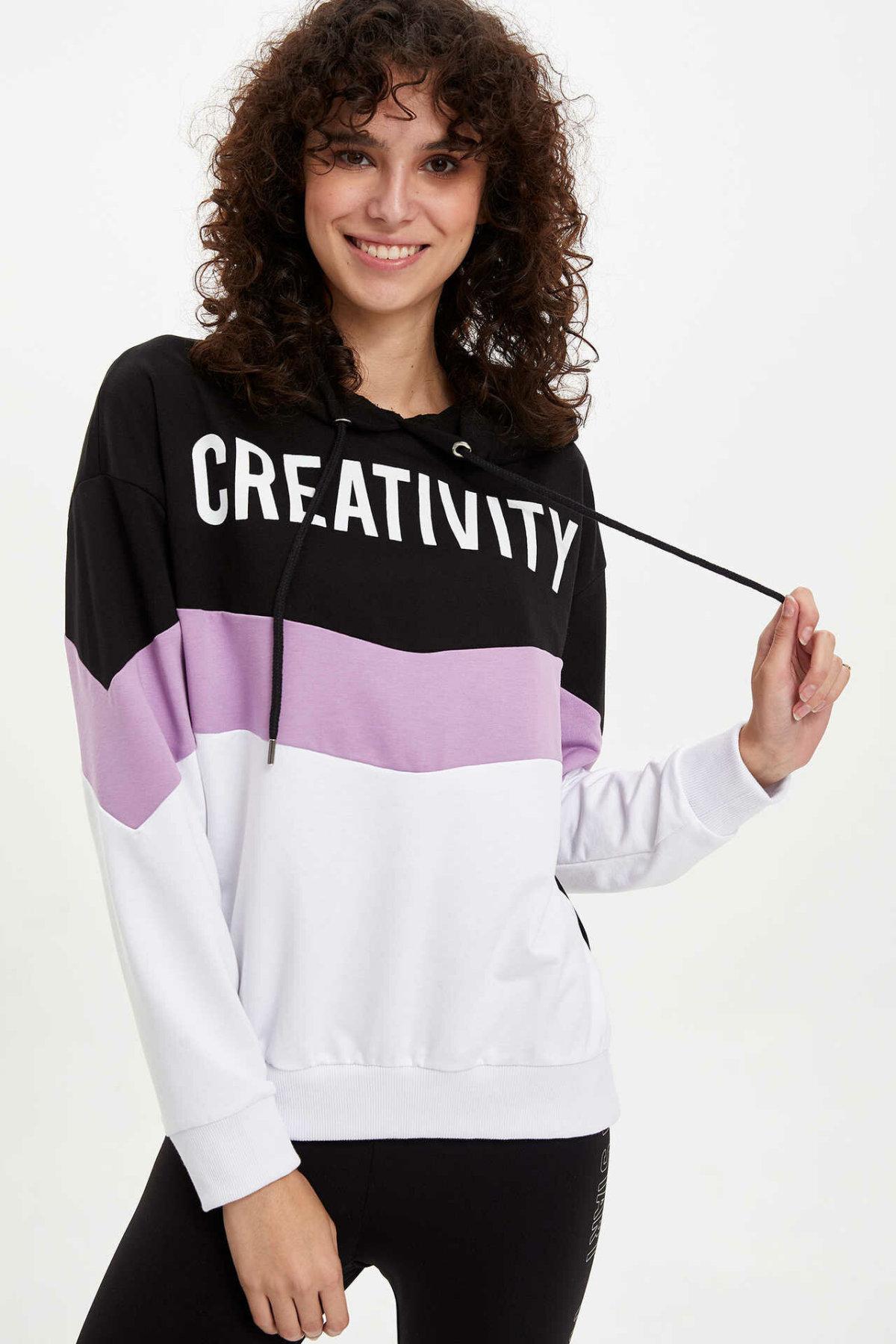 DeFacto Fashion Women Casual Hoodies Striped Letter Pattern Lady Sportwear Loose Hooded Sweatshirt Female New Autumn L9729AZ19AU
