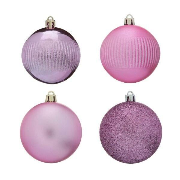 Новогодний шар матовый/искра/блестящий 7 см 4 шт в пвх роз.цв. Snowmen Е96168|Декоративные шары| | АлиЭкспресс