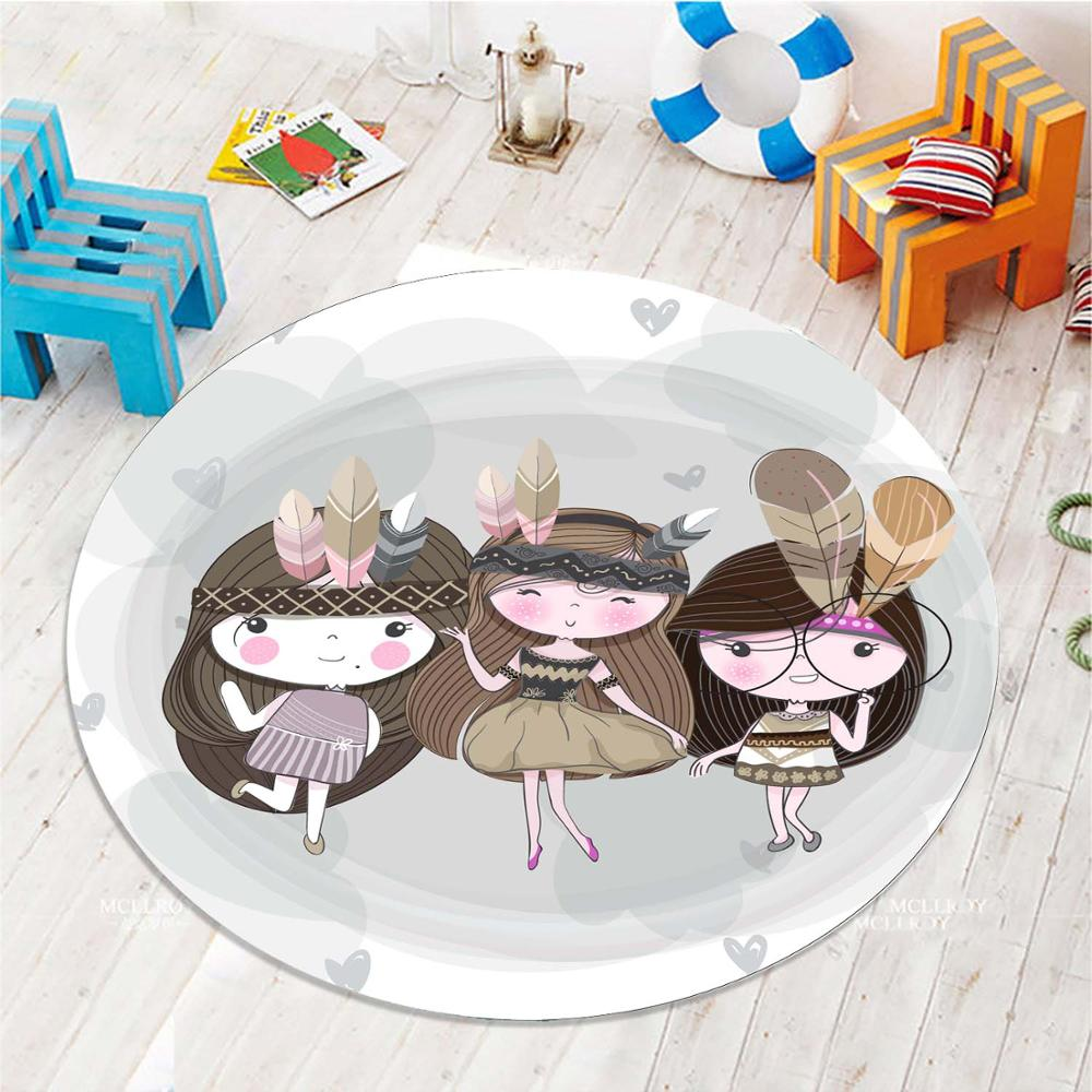 Else Little Cute Sweet Girls 3d Pattern Print Anti Slip Back Round Carpets Area Round Rug For Kids Baby Children Room
