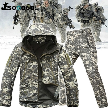 SOQOOOL Tactical Softshell Camouflage Jacket Set Army Windbreaker Waterproof Hunting Clothes Military Uniform Jackets and Pants 3pcs set tad shark softshell jacket outdoor clothes hunting jacket pants with shirts camouflage military army suits for hiking