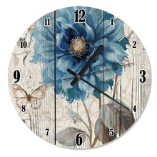 50 Cm Diameter Blue Flower Patterned Wooden Wall Clock Specialty Clock Home Decoration Gift Wall Clock Classy Stylish Clock