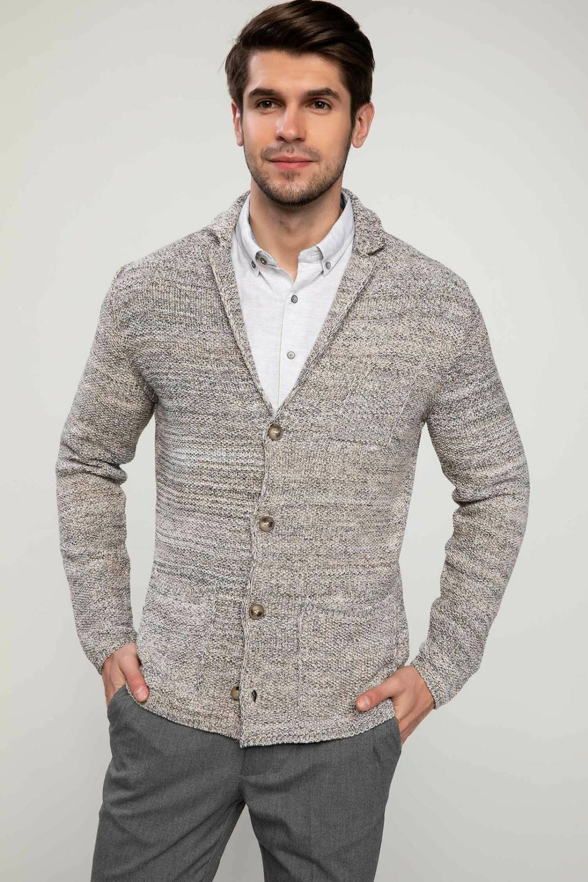 DeFacto Man Lapel Knitted Cardigan Male Single-breasted Warm Coats For Men's Slim Casual Jackets - J2853AZ18AU
