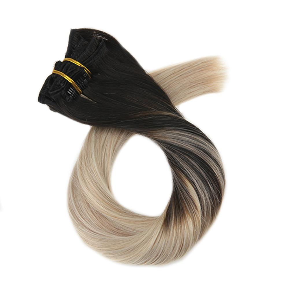 Moresoo Full Head Clip In  Human Hair Extensions Brazilian Hair 12-14 Inch Clip Ins Straight 5Pcs 70G  Ship Remy Hair