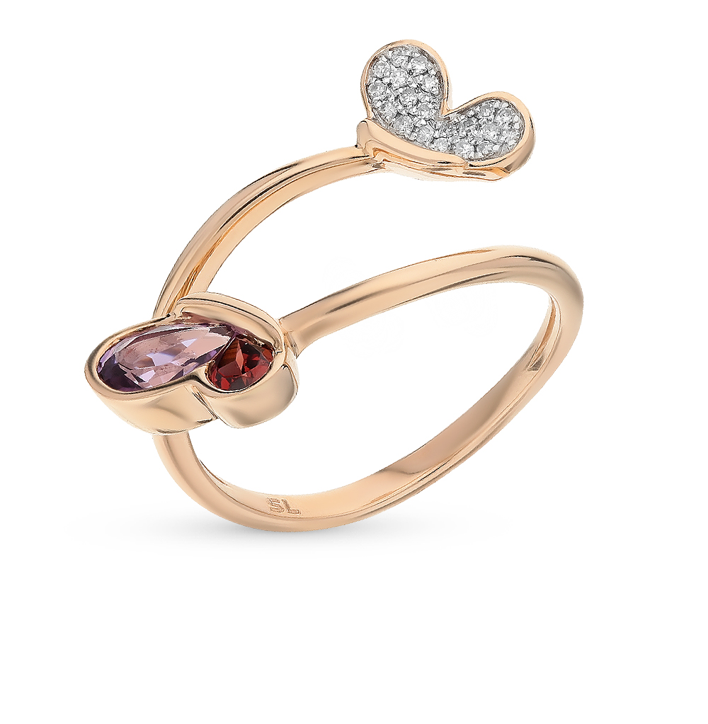 Gold Ring With Amethyst, Garnet And Diamond SUNLIGHT Test 585