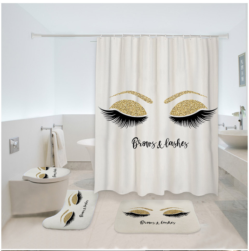 Eyelashes Print Bathroom Curtain Set With 12PCS Plastic Hooks For With Toilet Seat Cover 7