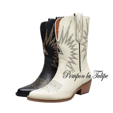 BHS 9011162 Chic Retro Embroider Genuine Cow Leather 5.5CM Chunky Heel Cowboy Stylish Comfy Casual Western Women Fashion Boots