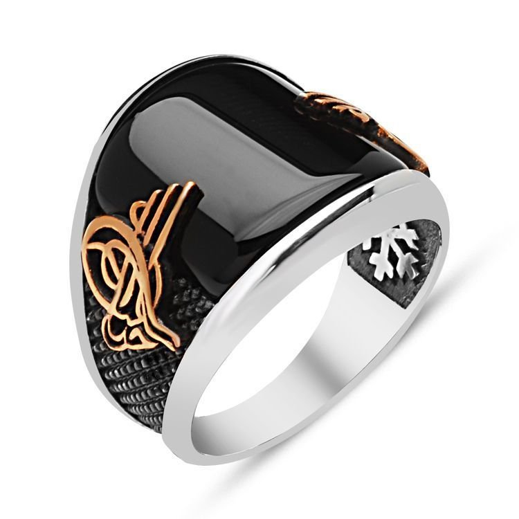 925 пробы Серебряное кольцо с драгоценным камнем из оникса|Кольца|   | АлиЭкспресс