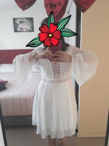 New Girls White Summer Bohemian Mini Dress Women Fashion Spring Solid White Mini Lace Casual Clothes V Neck Long Sleeve Dresses photo review