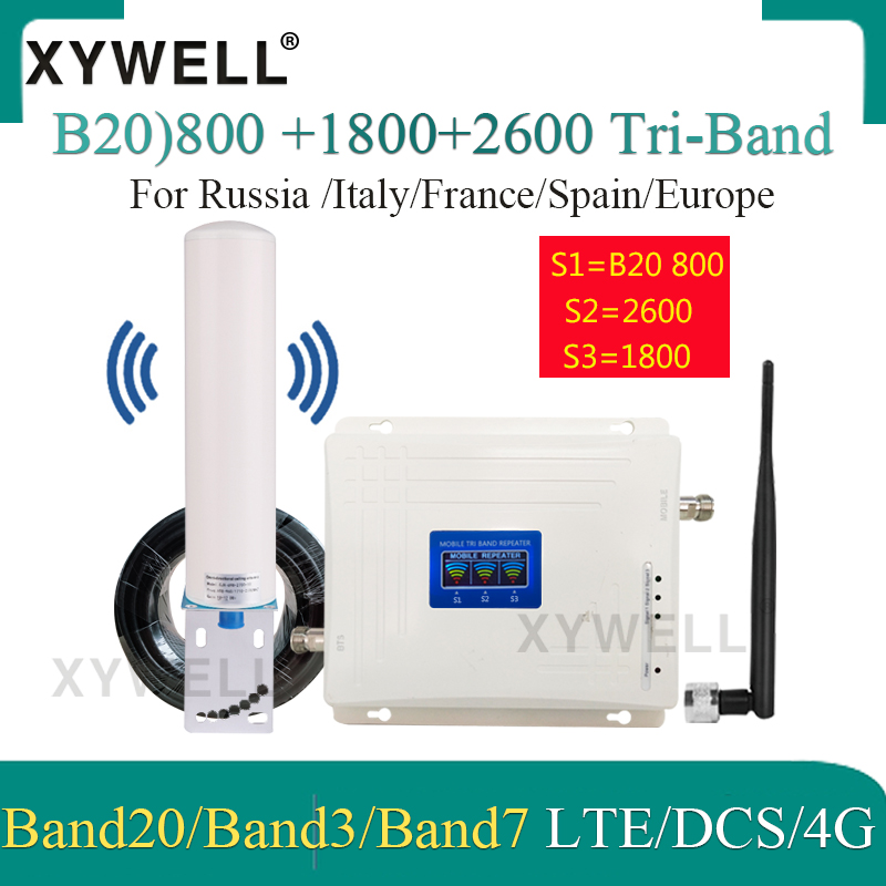 New! LTE B20 800 1800 2600 Mhz Tri-Band 4G Cell Phone Booster Mobile Signal Amplifier 2G 4G Cellular Repeater LTE DCS 4G Booster