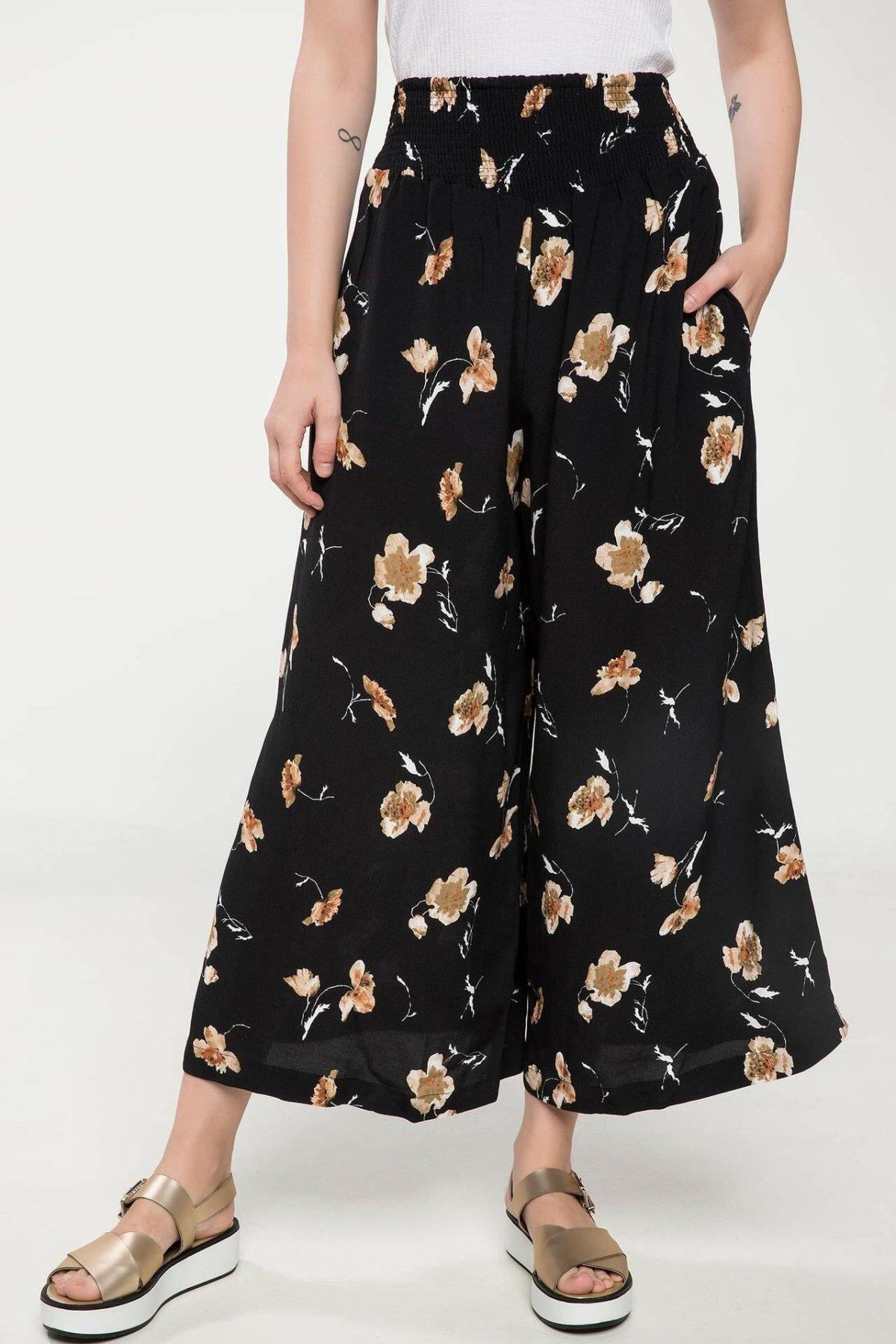 DeFacto Woman Autumn Floral Prints Wide Leg Pants Women Casual Elastic Black Chiffon Pants Female Bottoms Trousers-J6097AZ18HS