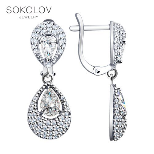 SOKOLOV Silver Drop Earrings With Stones With Stones With Stones With Stones With Stones With Stones With Stones With Stones With Cubic Zirconia Fashion Jewelry Silver 925 Women's Male