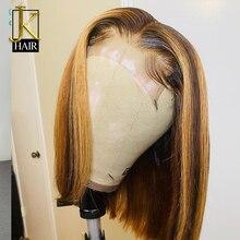 Jk cabelo l3/27 ombre peruano curto bob peruca 4x4 frente do laço peruca de cabelo humano com o cabelo do bebê peruca do laço para o cabelo remy preto