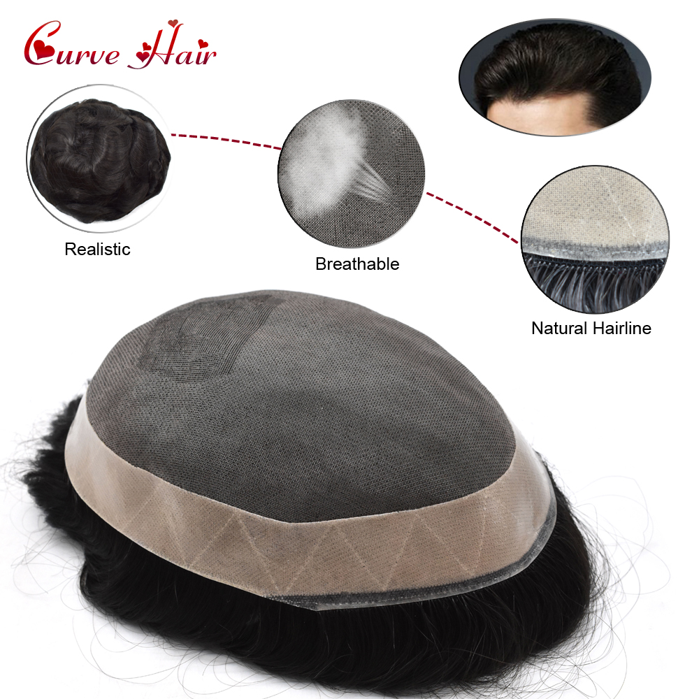 Durable Fine Mono Mens Toupee 1