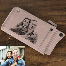 Custom Wallet Photo Carving Woman Wallet Long Style Leather Multi-Card Position Custom Engraved Pattern Purse Christmas Present