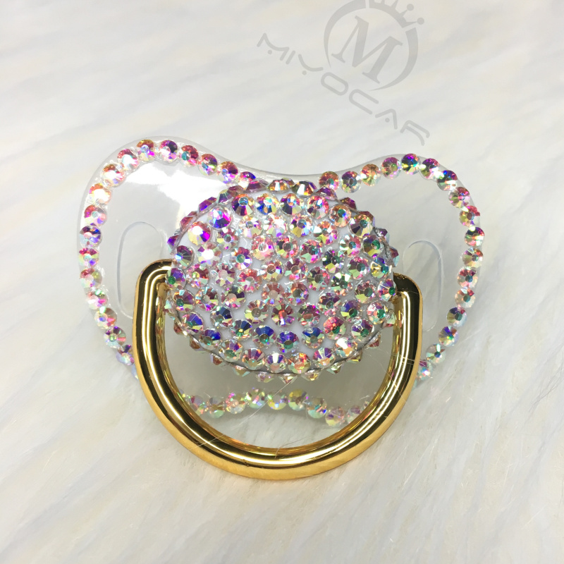 MIYOCAR Handmade Bling Colorful Rhinestone Pacifier Queen And King Style Pacifier Dummy Ideal Gift  Baby Showe PBC