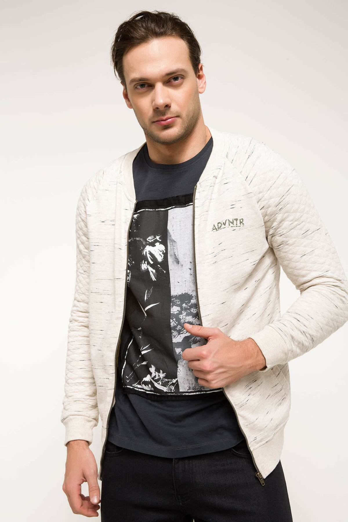 DeFacto Autumn Men Knitted White Cardigan Sweater Long Sleeve Casual Zipper Mens Top Cloth/ Bolero I6526AZ18SMBG300-I6526AZ18SM