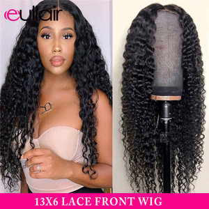 eullair Deep Wave Human Hair Wigs 13x6 Lace Front Wig 360 Lace Frontal Wig Pre Plucked Hairline Human Hair Wigs For Black Women(China)