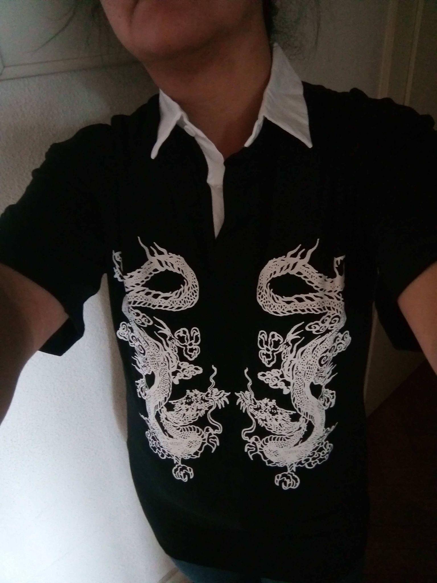E-girl Gothic Dragon Print T-shrits photo review