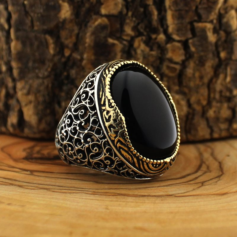 925 Sterling Silver Ring for Men Black Onyx Stone Jewelry fashion vintage Gift Zircon Aqeq Mens Rings All Size (made in Turkey)