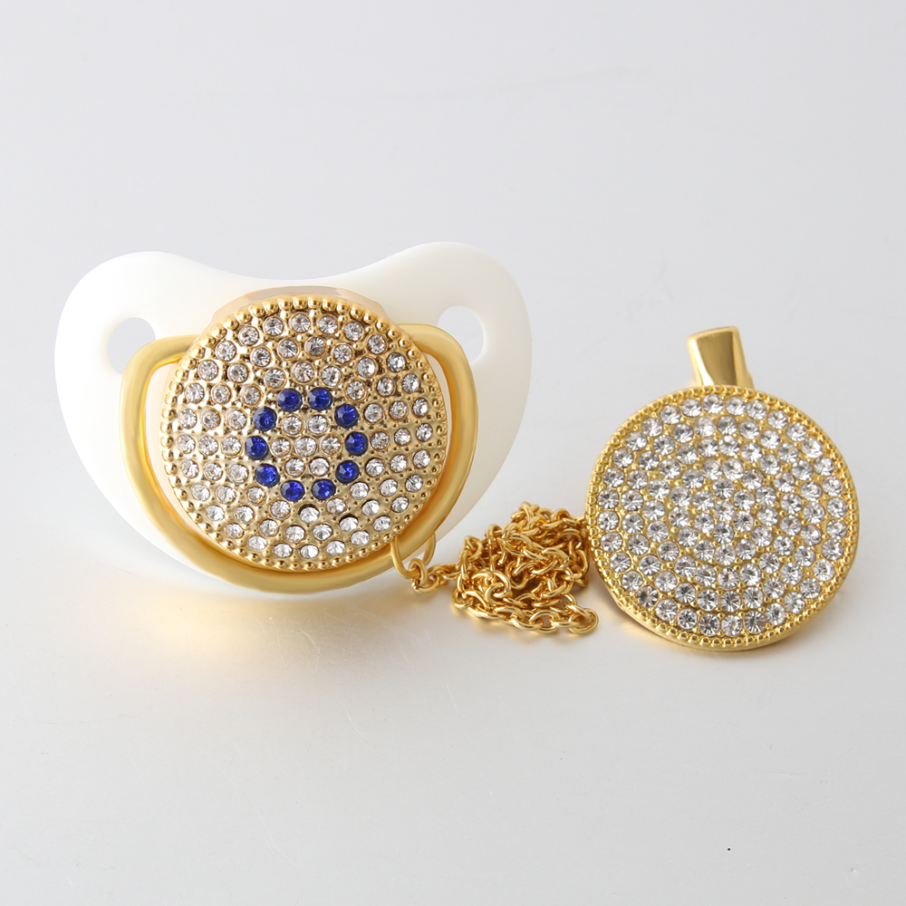 Classic Bling Pacifier with Clip Beaded White Luxury Set Elegant Rhinestone