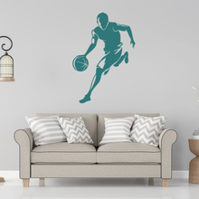Dribbling Basketball Man Silhouette Sports Wall Sticker Decal For Mens Room Decor A0056