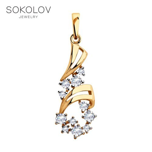 Pendant SOKOLOV Gold With Cubic Zirconia Fashion Jewelry 585 Women's Male