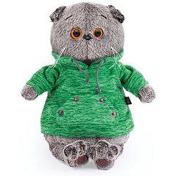 Soft toy Budi Basa Cat Basik green sweatshirt with kangaroo pocket 19 cm