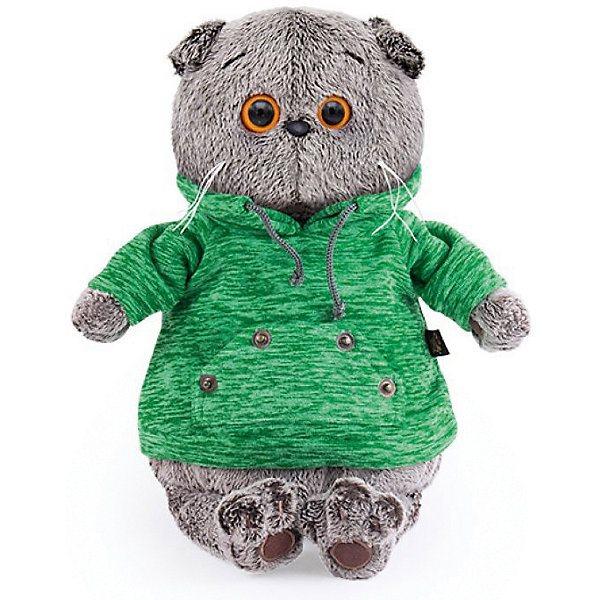 Soft Toy Budi Basa Cat Basik In Green Hoodie With Pocket Kangaroo, 19 Cm