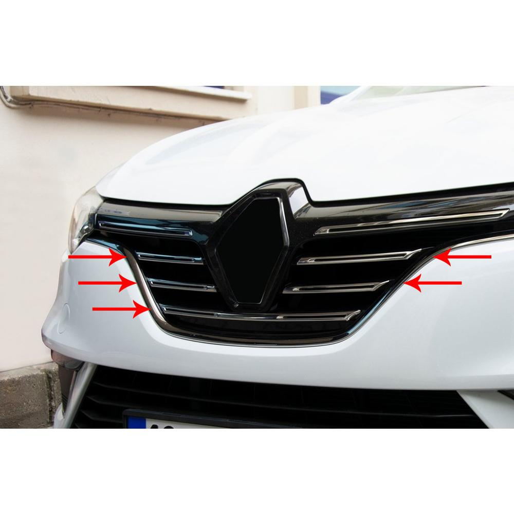 For Renault Megane 4 Accessories 2016 2017 2018 2019 2020 Megane 4 Accessories Chrome Front Grille Chrome Stainless Steel 5 pcs enlarge