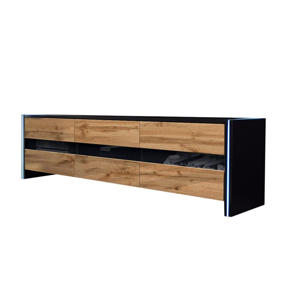 Selsey INCHEL - Meuble TV / Banc TV (139 cm, noir mat / chêne wotan, avec LED) 2