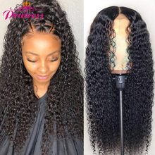 Human-Hair-Wigs Lace-Frontal Kinky Curly Pre-Plucked Princess Wig Brazilian with 13X4