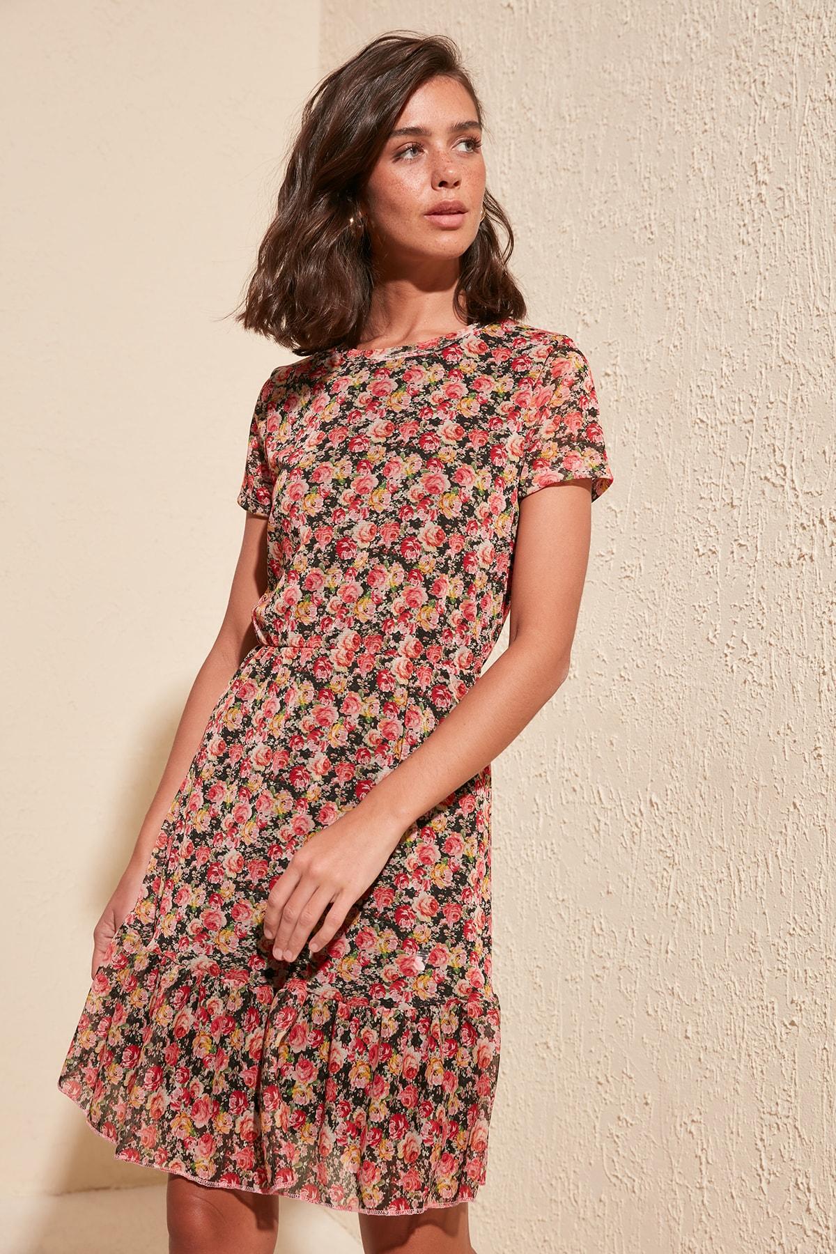 Trendyol Flower Print Tulle Knit Dress TWOSS20EL1375