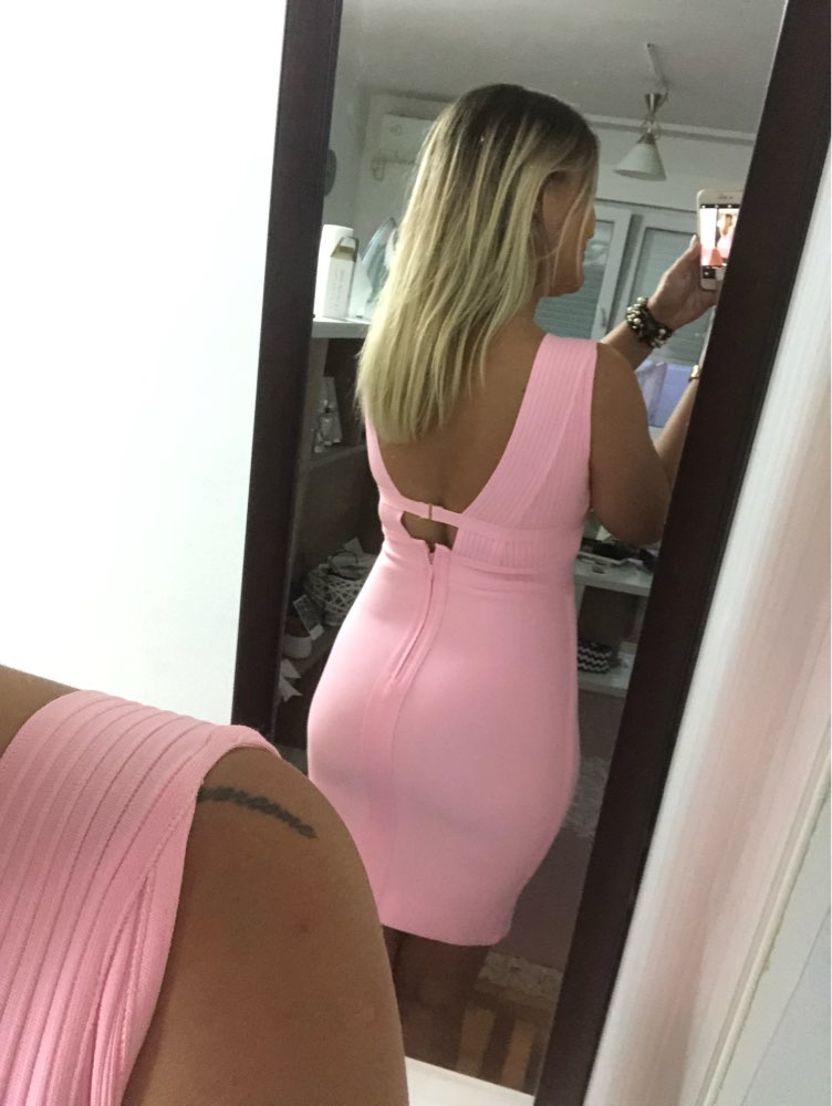 Summer Pink Bandage Dress Women Sexy Hollow Out Deep V Tank Backless Club Dress Hot Celebrity Evening Party Dress photo review